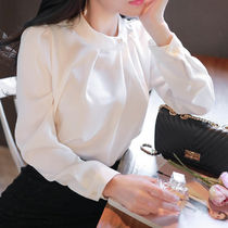 Long Sleeves Plain Medium Elegant Style Shirts & Blouses