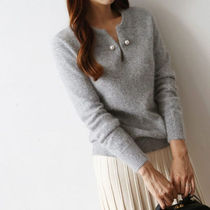 Casual Style Long Sleeves Plain Angola Knitwear