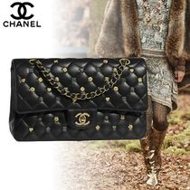 CHANEL Lambskin Studded 2WAY Chain Plain Elegant Style