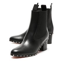 VALENTINO VLTN Plain Leather Elegant Style Boots Boots