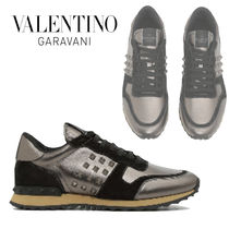 VALENTINO Suede Blended Fabrics Studded Plain Sneakers