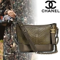CHANEL 2WAY Chain Leather Python Elegant Style Shoulder Bags