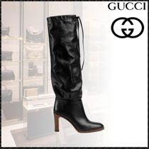 GUCCI Plain Toe Plain Leather Elegant Style Chunky Heels