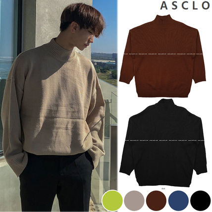 ASCLO Knits & Sweaters Street Style Collaboration Long Sleeves Plain