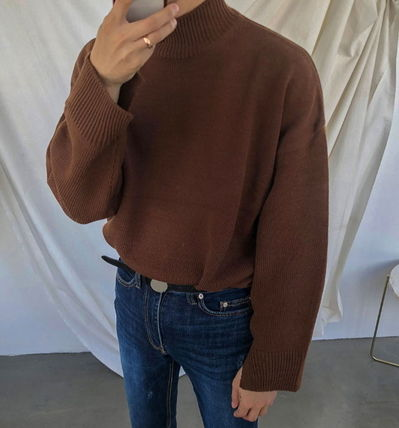 ASCLO Knits & Sweaters Street Style Collaboration Long Sleeves Plain 8