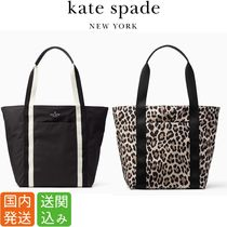 kate spade new york Leopard Patterns Casual Style Nylon Street Style A4 Totes