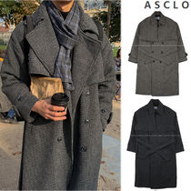 ASCLO Tartan Wool Street Style Collaboration Long Coats