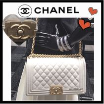 CHANEL BOY CHANEL Calfskin 2WAY Chain Plain Elegant Style Shoulder Bags
