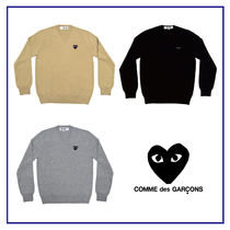 COMME des GARCONS Heart Wool V-Neck Long Sleeves Plain Knits & Sweaters