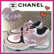 CHANEL SPORTS Casual Style Bi-color Plain Leather Low-Top Sneakers