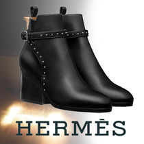 HERMES Round Toe Blended Fabrics Street Style Plain Leather