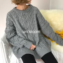 Cable Knit Casual Style U-Neck Plain Long Oversized