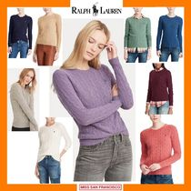 Ralph Lauren Crew Neck Cable Knit Short Flower Patterns Cashmere