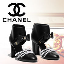 CHANEL Plain Leather Block Heels Ankle & Booties Boots