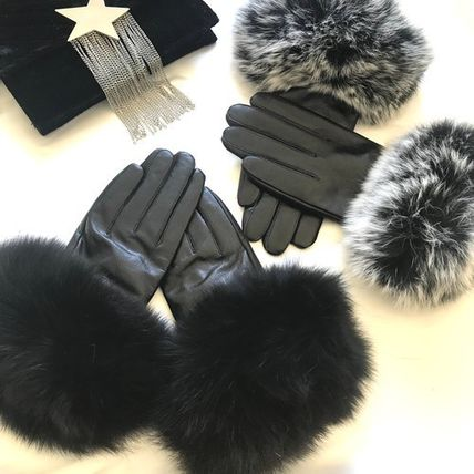 Leather & Faux Leather Blended Fabrics Plain Leather Leather & Faux Leather Gloves