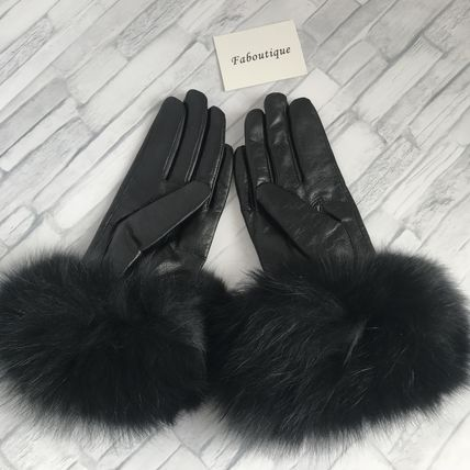 Leather & Faux Leather Blended Fabrics Plain Leather Leather & Faux Leather Gloves 7