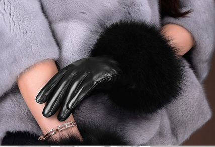 Leather & Faux Leather Blended Fabrics Plain Leather Leather & Faux Leather Gloves 9