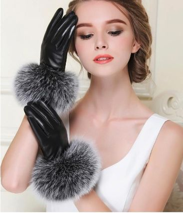 Leather & Faux Leather Blended Fabrics Plain Leather Leather & Faux Leather Gloves 15