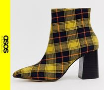 ASOS Tartan Casual Style Block Heels Ankle & Booties Boots