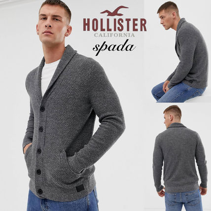 Hollister Co. Cardigans Street Style Long Sleeves Plain Cotton Cardigans