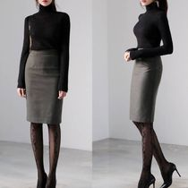 Pencil Skirts Wool Plain Medium Office Style Midi Skirts
