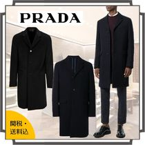 PRADA Wool Blended Fabrics Bi-color Plain Long Chester Coats