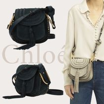 Chloe Casual Style Suede Studded Plain Shoulder Bags