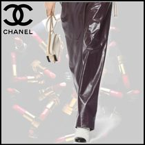 CHANEL Blended Fabrics Bi-color Chain Leather Elegant Style Bags