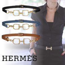 HERMES Casual Style Chain Leather Necklaces & Pendants