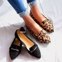 Leopard Patterns Casual Style Suede Pointed Toe Shoes