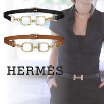 HERMES Casual Style Blended Fabrics Chain Leather