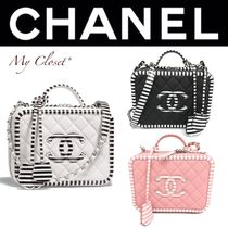 CHANEL MATELASSE Stripes Casual Style Calfskin Tassel Vanity Bags 2WAY Chain