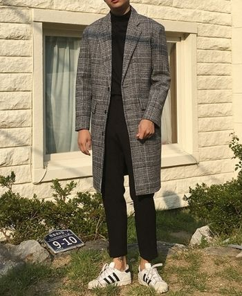 Glen Patterns Wool Long Peacoats Coats