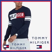 Tommy Hilfiger Stripes Street Style Long Sleeves Cotton Knits & Sweaters