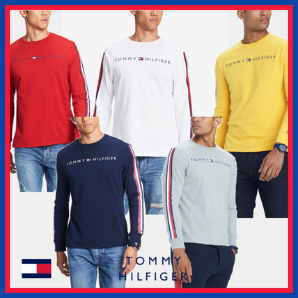 Tommy Hilfiger Sweatshirts Crew Neck Street Style Long Sleeves Cotton Sweatshirts