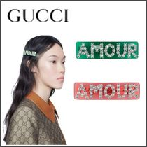 GUCCI Barettes Blended Fabrics With Jewels Elegant Style Clips