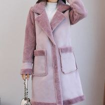 Stand Collar Coats Fur Blended Fabrics Street Style Bi-color