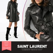 Saint Laurent Stand Collar Coats Plain Leather Medium Elegant Style