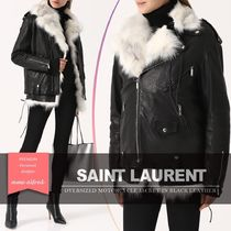 Saint Laurent Short Plain Leather Biker Jackets