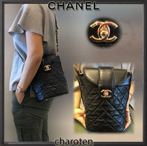 CHANEL ICON Calfskin 2WAY Chain Plain Elegant Style Shoulder Bags