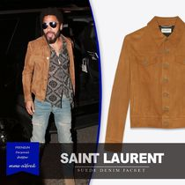 Saint Laurent Short Plain Leather Denim Jackets Biker Jackets