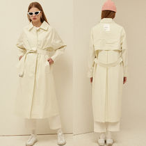 13MONTH Casual Style Unisex Plain Long Oversized Trench Coats