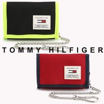 Tommy Hilfiger Unisex Street Style Chain Plain Folding Wallets