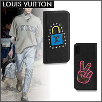 Louis Vuitton EPI Unisex Studded Street Style Plain Leather Smart Phone Cases