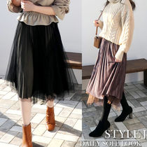 Casual Style Blended Fabrics Pleated Skirts Medium Midi