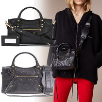 BALENCIAGA CITY Casual Style Lambskin 2WAY Plain Shoulder Bags