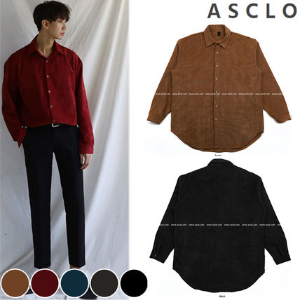 ASCLO Shirts Corduroy Street Style Collaboration Long Sleeves Plain