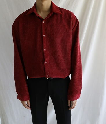 ASCLO Shirts Corduroy Street Style Collaboration Long Sleeves Plain 4