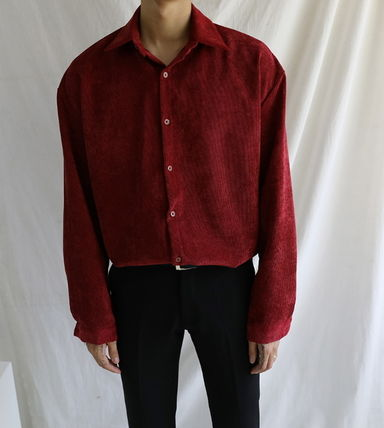 ASCLO Shirts Corduroy Street Style Collaboration Long Sleeves Plain 5