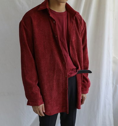 ASCLO Shirts Corduroy Street Style Collaboration Long Sleeves Plain 8